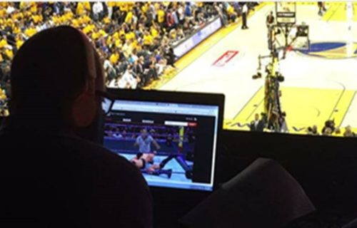 Reporter photographed watching Extreme Rules PPV during NBA finals; trolled by fans