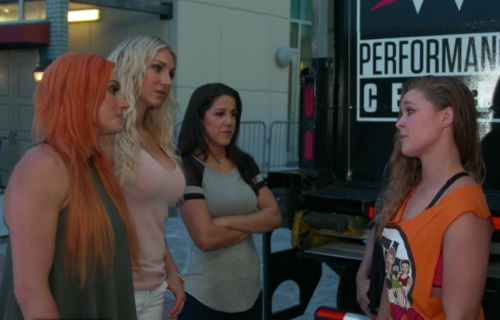 Ronda Rousey challenges Becky Lynch, Charlotte & Bayley (video)