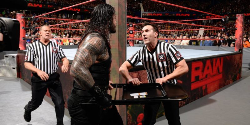 Roman Reigns Shoves official during Raw