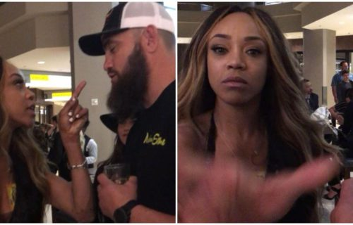 Video of Alicia Fox and Ronda Rousey's partner Travis Browne arguing in hotel lobby