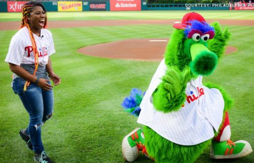 Ember Moon throws out first pitch at Phillies game