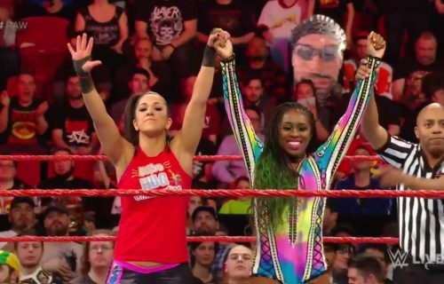Naomi teams up with Bayley to defeat the IIconics on Monday Night Raw