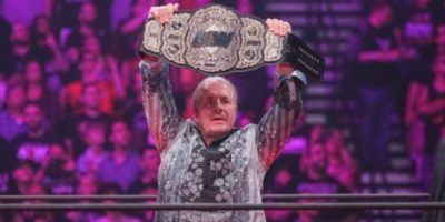 Bret Hart with AEW World title