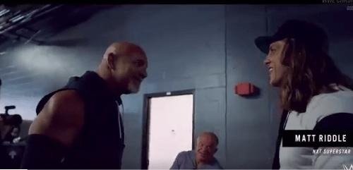 Watch the awkward backstage interaction between Goldberg and Matt Riddle from SummerSlam