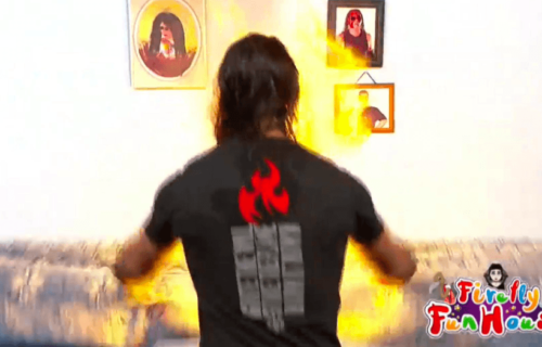 Bray Wyatt reacts to Seth Rollins burning the Firefly Funhouse down