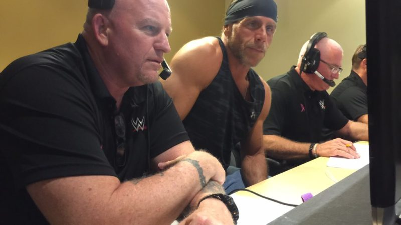 Brian James and Shawn Michaels backstage