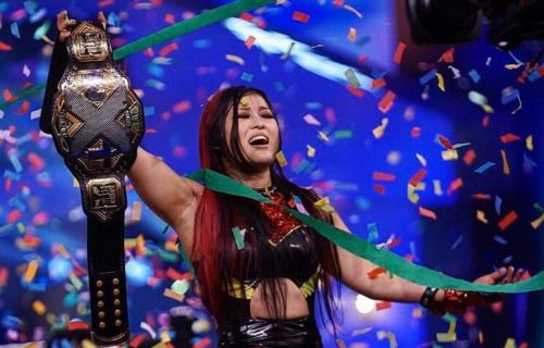 Io Shirai reacts to winning the NXT Women's Championship