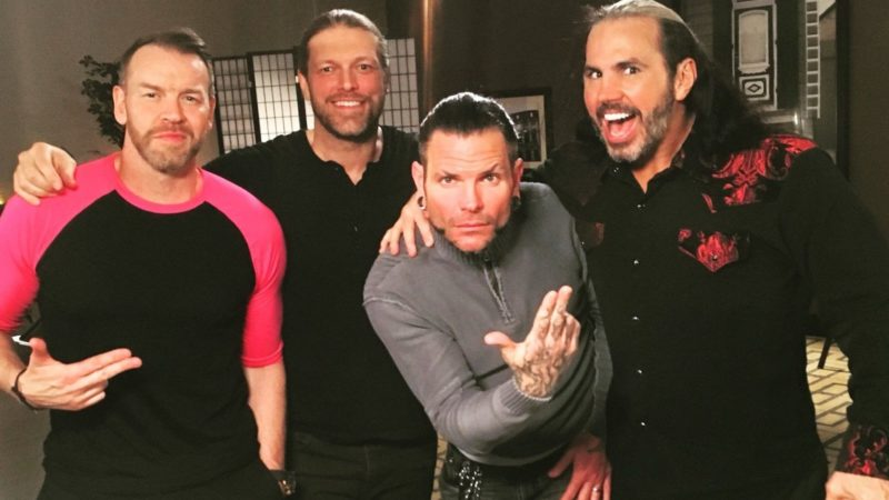 Edge and Christian with the Hardy Boyz