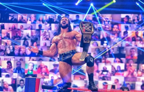 Drew McIntyre reacts to winning back the WWE Championship on RAW